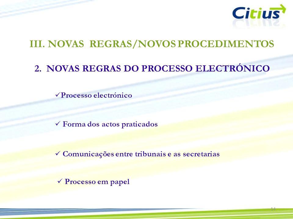 III.NOVAS REGRAS/NOVOS PROCEDIMENTOS 2. NOVAS REGRAS DO PROCESSO ELECTRÓNICO 14 Processo electrónico Forma dos actos praticados Comunicações entre tri