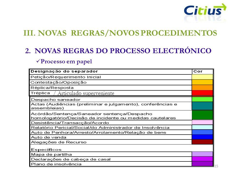 III.NOVAS REGRAS/NOVOS PROCEDIMENTOS 2. NOVAS REGRAS DO PROCESSO ELECTRÓNICO 15 Processo em papel / Articulado superveniente