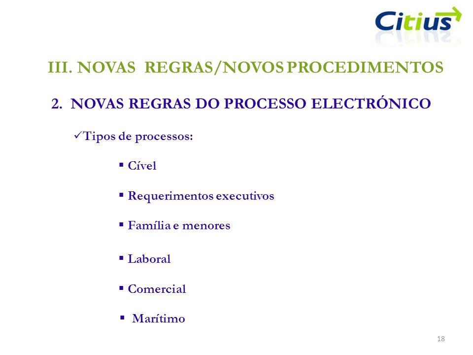III.NOVAS REGRAS/NOVOS PROCEDIMENTOS 2. NOVAS REGRAS DO PROCESSO ELECTRÓNICO 18 Tipos de processos: Cível Requerimentos executivos Família e menores L