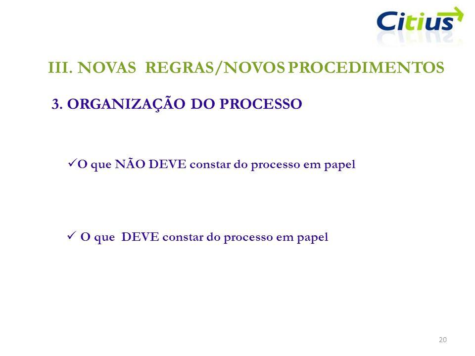 III.NOVAS REGRAS/NOVOS PROCEDIMENTOS 3. ORGANIZAÇÃO DO PROCESSO 20 O que NÃO DEVE constar do processo em papel O que DEVE constar do processo em papel
