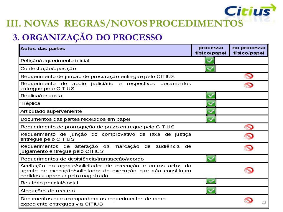 III.NOVAS REGRAS/NOVOS PROCEDIMENTOS 3. ORGANIZAÇÃO DO PROCESSO 23