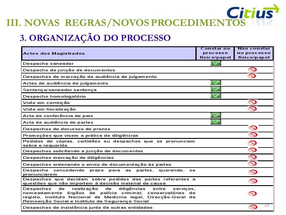 3. ORGANIZAÇÃO DO PROCESSO 24 III.NOVAS REGRAS/NOVOS PROCEDIMENTOS