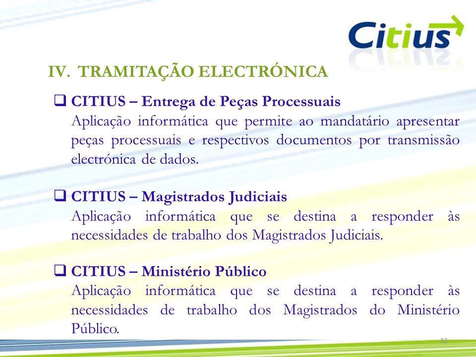 CITIUS – Entrega de Peças Processuais Aplicação informática que permite ao mandatário apresentar peças processuais e respectivos documentos por transm
