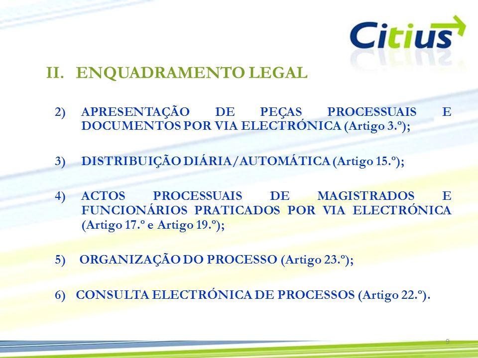 2)APRESENTAÇÃO DE PEÇAS PROCESSUAIS E DOCUMENTOS POR VIA ELECTRÓNICA (Artigo 3.º); 3)DISTRIBUIÇÃO DIÁRIA/AUTOMÁTICA (Artigo 15.º); 4)ACTOS PROCESSUAIS