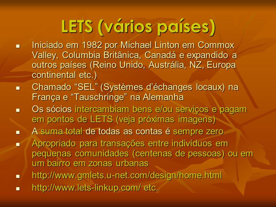 LETS (vários países) Iniciado em 1982 por Michael Linton em Commox Valley, Columbia Britânica, Canadá e expandido a outros países (Reino Unido, Austrá