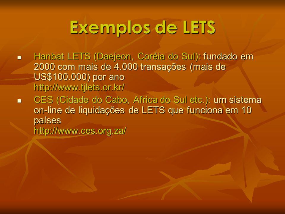 Exemplos de LETS Hanbat LETS (Daejeon, Coréia do Sul): fundado em 2000 com mais de 4.000 transações (mais de US$100.000) por ano http://www.tjlets.or.