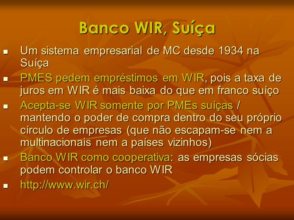 Banco WIR, Suíça Um sistema empresarial de MC desde 1934 na Suíça Um sistema empresarial de MC desde 1934 na Suíça PMES pedem empréstimos em WIR, pois