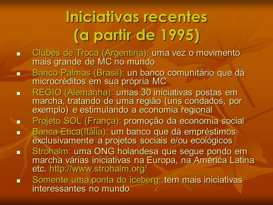Iniciativas recentes (a partir de 1995) Clubes de Troca (Argentina): uma vez o movimento mais grande de MC no mundo Clubes de Troca (Argentina): uma v