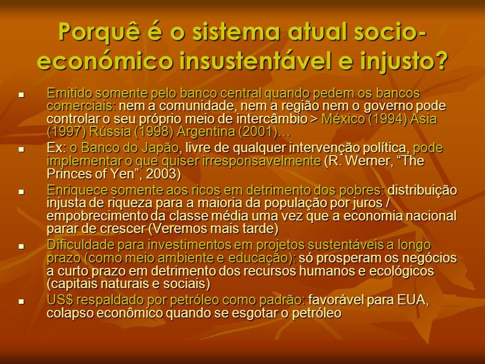 Porquê é o sistema atual socio- económico insustentável e injusto? Emitido somente pelo banco central quando pedem os bancos comerciais: nem a comunid