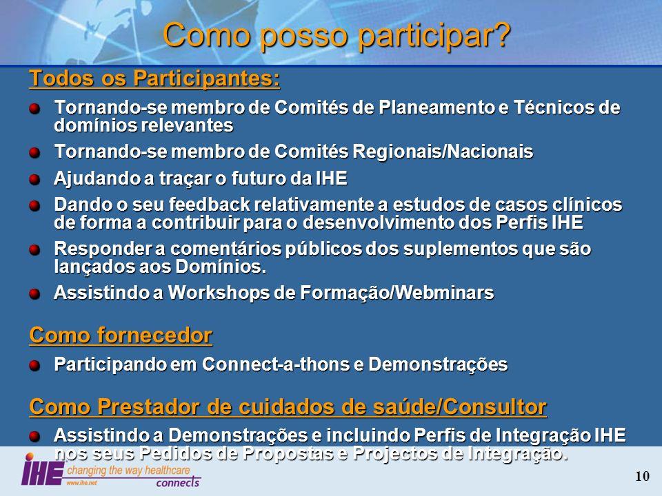 10 Todos os Participantes: Tornando-se membro de Comités de Planeamento e Técnicos de domínios relevantes Tornando-se membro de Comités Regionais/Naci