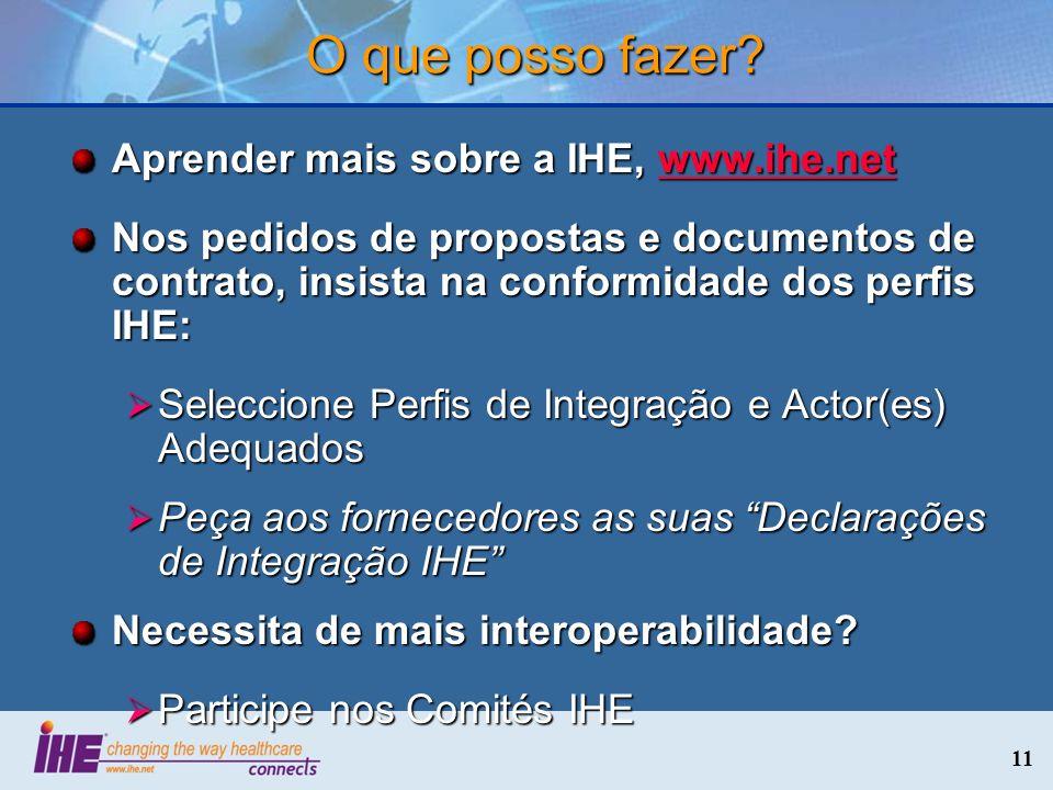 11 O que posso fazer? Aprender mais sobre a IHE, www.ihe.net www.ihe.net Nos pedidos de propostas e documentos de contrato, insista na conformidade do