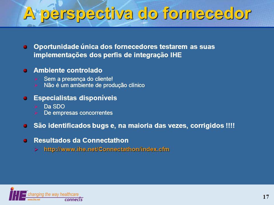 A perspectiva do fornecedor Oportunidade única dos fornecedores testarem as suas implementações dos perfis de integração IHE Ambiente controlado Sem a