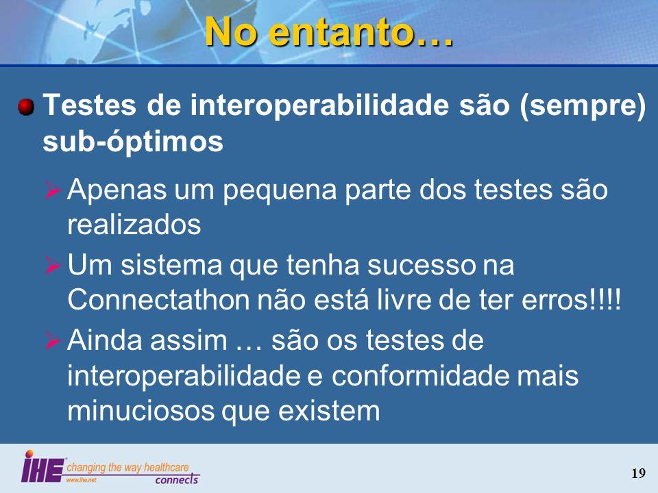 No entanto… Testes de interoperabilidade são (sempre) sub-óptimos Apenas um pequena parte dos testes são realizados Um sistema que tenha sucesso na Co