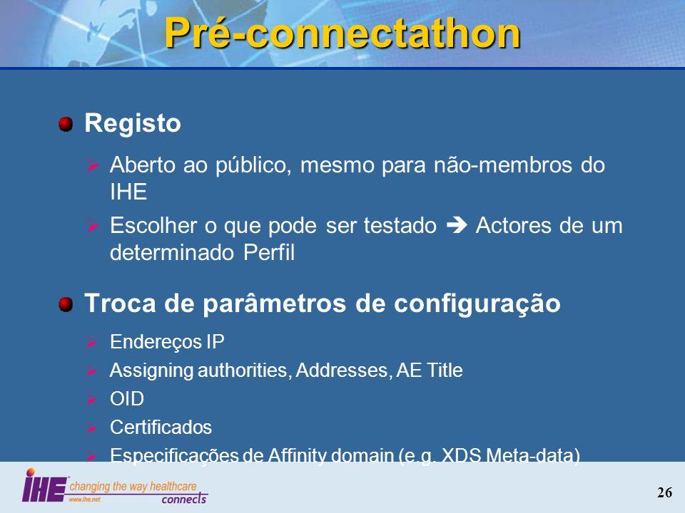 Pré-connectathon Registo Aberto ao público, mesmo para não-membros do IHE Escolher o que pode ser testado Actores de um determinado Perfil Troca de pa