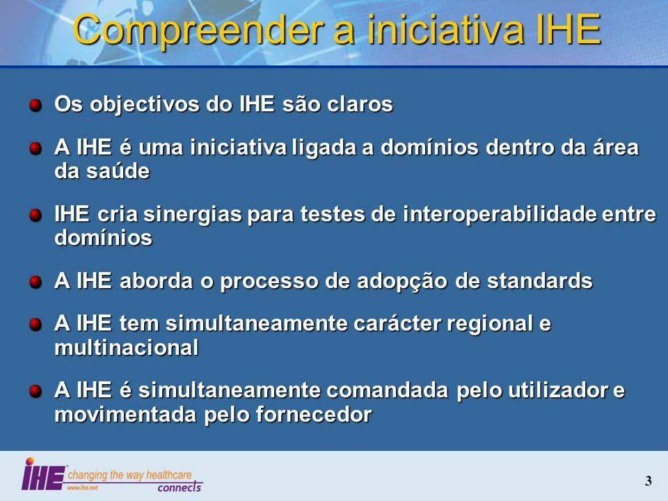 3 Compreender a iniciativa IHE Os objectivos do IHE são claros A IHE é uma iniciativa ligada a domínios dentro da área da saúde IHE cria sinergias par