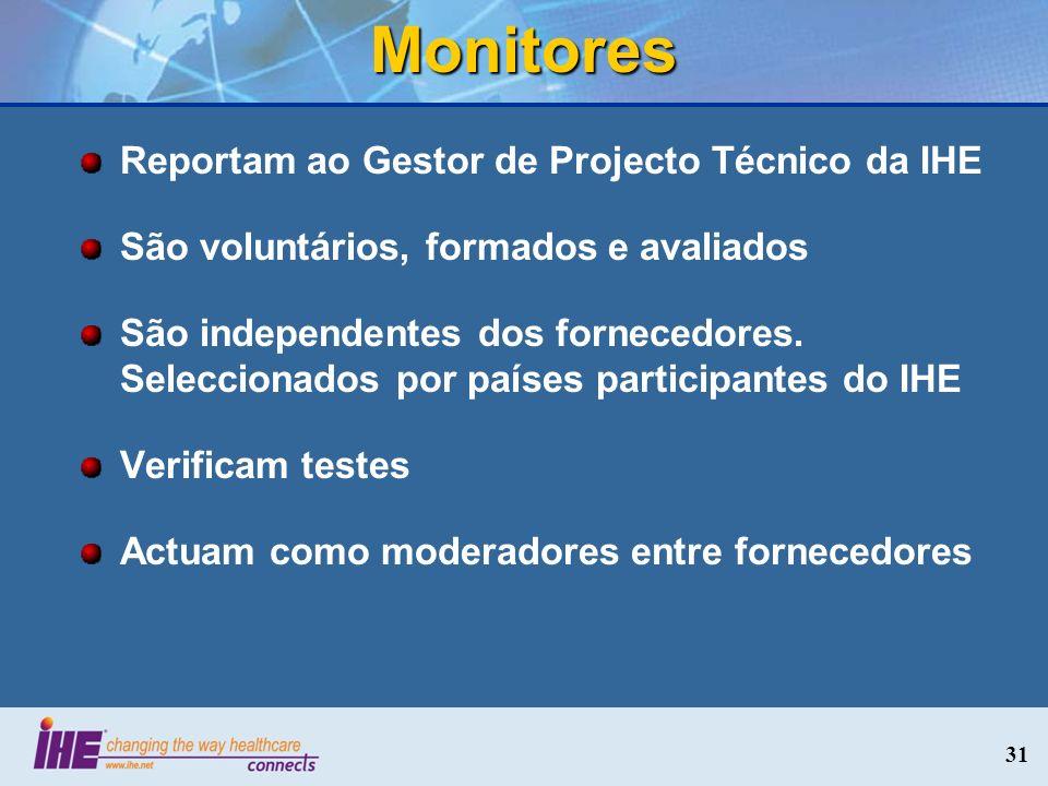 Monitores Reportam ao Gestor de Projecto Técnico da IHE São voluntários, formados e avaliados São independentes dos fornecedores. Seleccionados por pa