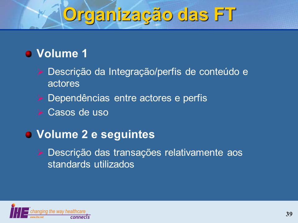 Organização das FT Volume 1 Descrição da Integração/perfis de conteúdo e actores Dependências entre actores e perfis Casos de uso Volume 2 e seguintes