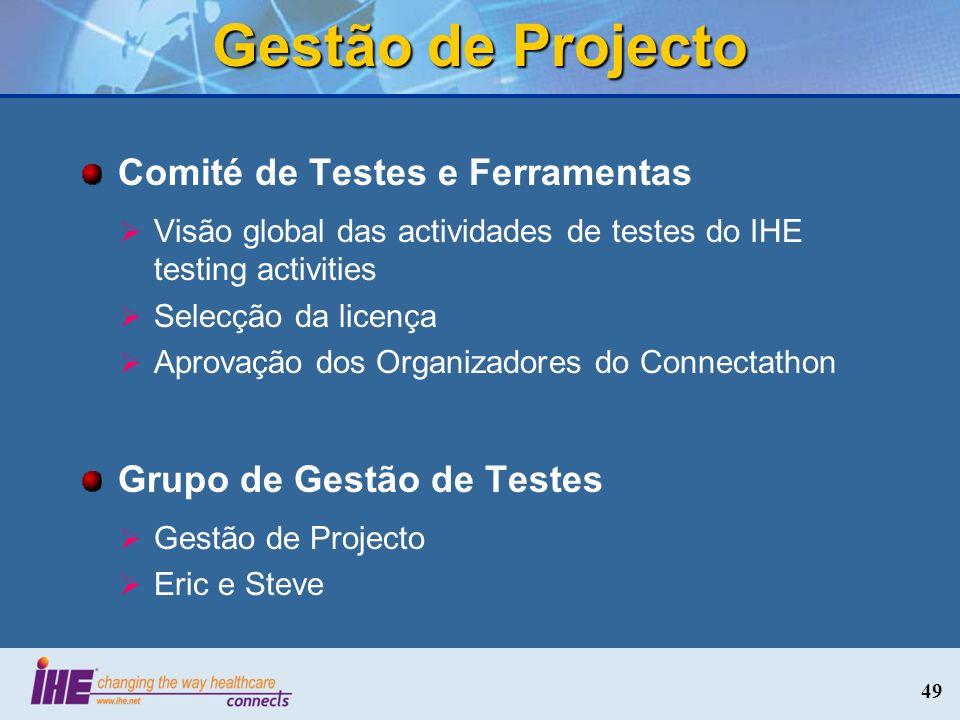Gestão de Projecto Comité de Testes e Ferramentas Visão global das actividades de testes do IHE testing activities Selecção da licença Aprovação dos O