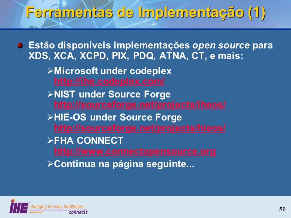 Ferramentas de Implementação (1) Estão disponíveis implementações open source para XDS, XCA, XCPD, PIX, PDQ, ATNA, CT, e mais: Microsoft under codeple