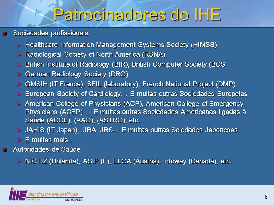 6 Patrocinadores do IHE Sociedades profissionais Healthcare Information Management Systems Society (HIMSS) Healthcare Information Management Systems S