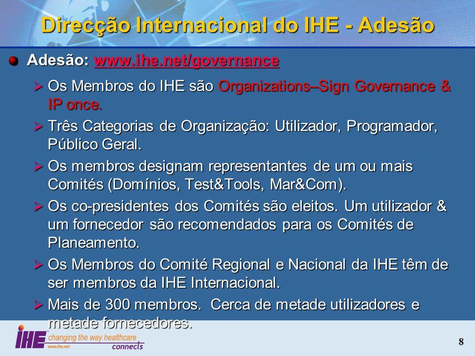 8 Direcção Internacional do IHE - Adesão Adesão: www.ihe.net/governance www.ihe.net/governance Os Membros do IHE são Organizations–Sign Governance & I
