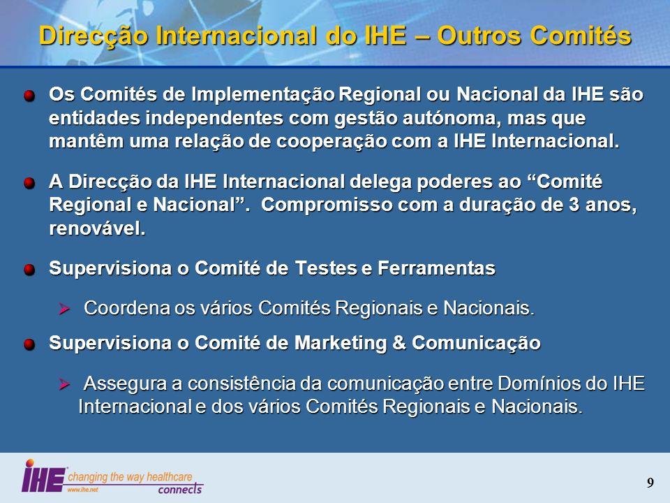 9 Direcção Internacional do IHE – Outros Comités Os Comités de Implementação Regional ou Nacional da IHE são entidades independentes com gestão autóno