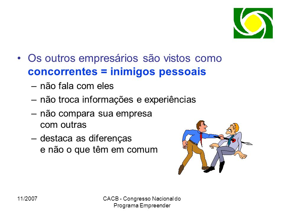 11/2007CACB - Congresso Nacional do Programa Empreender Os outros empresários são vistos como concorrentes = inimigos pessoais –não fala com eles –não