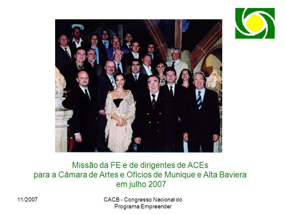 11/2007CACB - Congresso Nacional do Programa Empreender Missão da FE e de dirigentes de ACEs para a Câmara de Artes e Ofícios de Munique e Alta Bavier