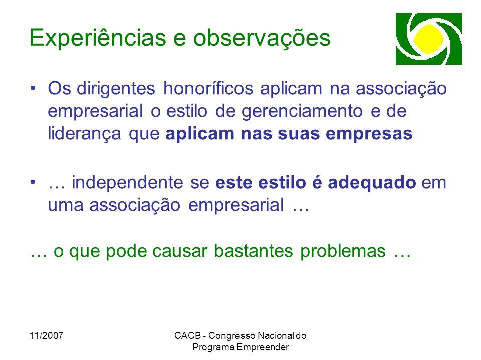 11/2007CACB - Congresso Nacional do Programa Empreender Experiências e observações Os dirigentes honoríficos aplicam na associação empresarial o estil