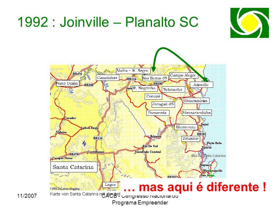 11/2007CACB - Congresso Nacional do Programa Empreender 1992 : Joinville – Planalto SC … mas aqui é diferente !