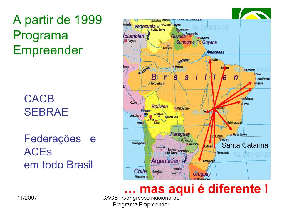 11/2007CACB - Congresso Nacional do Programa Empreender A partir de 1999 Programa Empreender Santa Catarina CACB SEBRAE Federações e ACEs em todo Bras