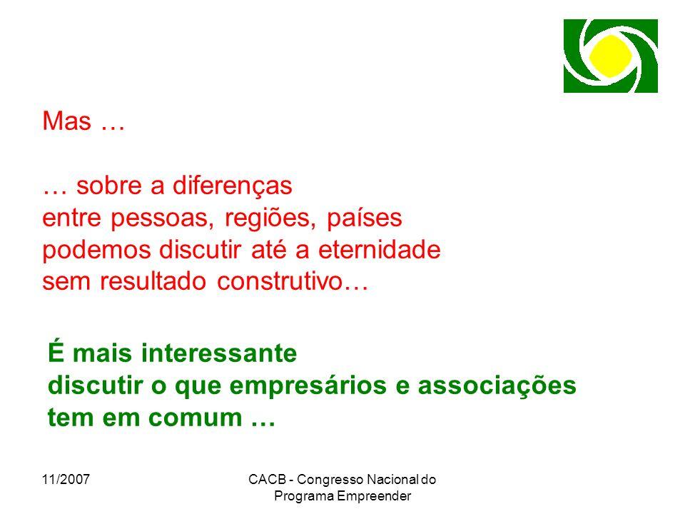 11/2007CACB - Congresso Nacional do Programa Empreender Mas … … sobre a diferenças entre pessoas, regiões, países podemos discutir até a eternidade se