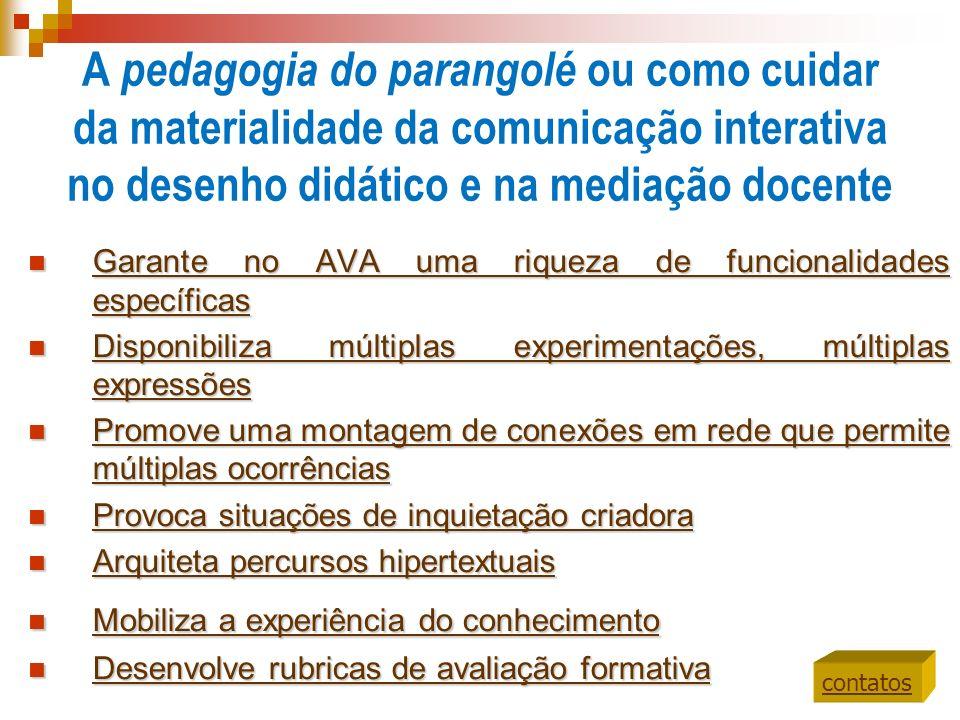 A pedagogia do parangolé ou como cuidar da materialidade da comunicação interativa no desenho didático e na mediação docente Garante no AVA uma riquez