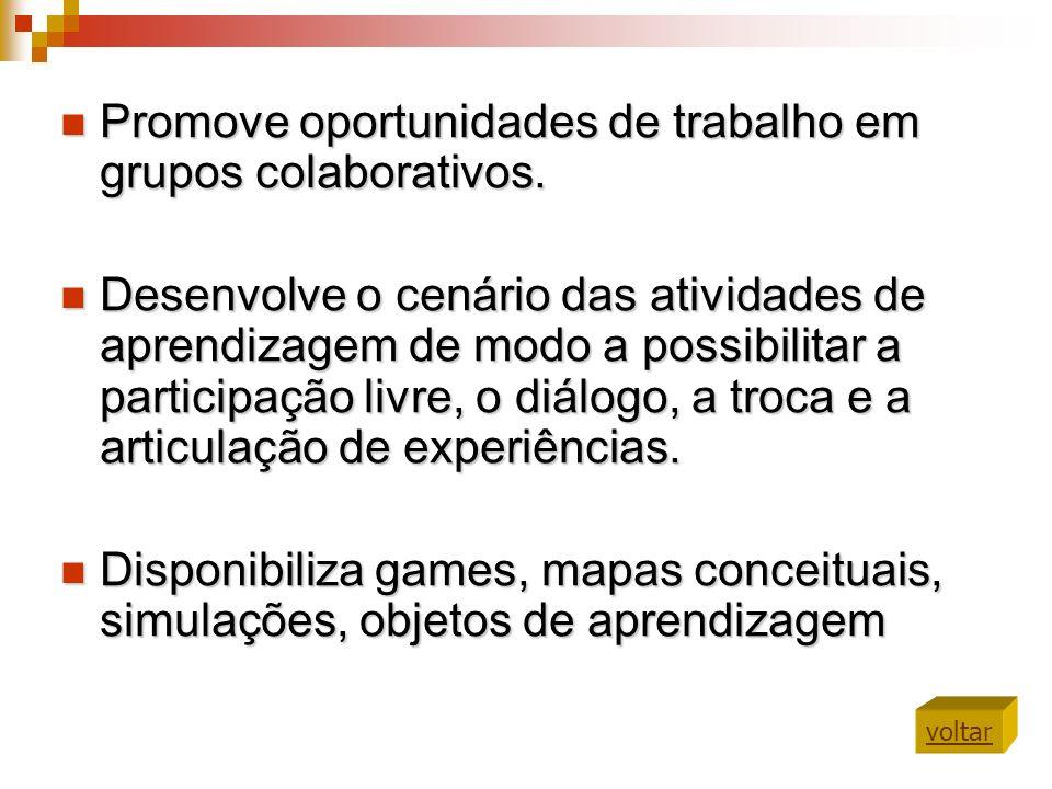 Promove oportunidades de trabalho em grupos colaborativos. Promove oportunidades de trabalho em grupos colaborativos. Desenvolve o cenário das ativida