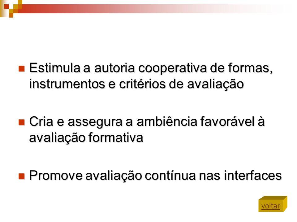 Estimula a autoria cooperativa de formas, instrumentos e critérios de avaliação Estimula a autoria cooperativa de formas, instrumentos e critérios de