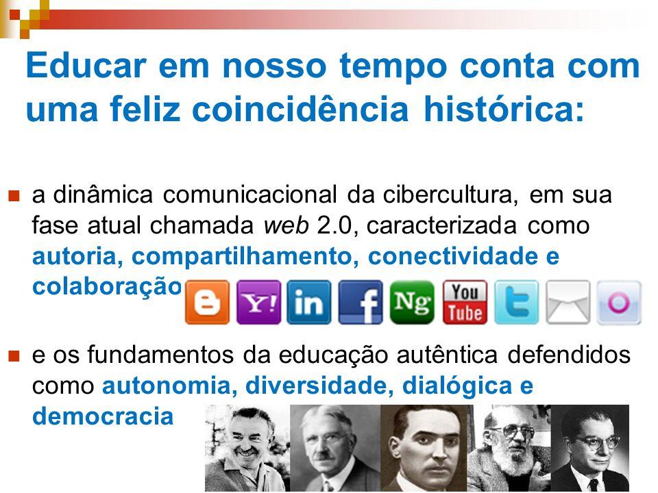 Educar em nosso tempo conta com uma feliz coincidência histórica: a dinâmica comunicacional da cibercultura, em sua fase atual chamada web 2.0, caract