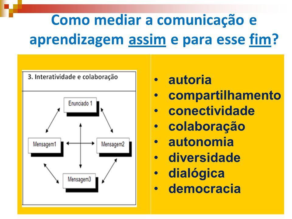 Como mediar a comunicação e aprendizagem assim e para esse fim? autoria compartilhamento conectividade colaboração autonomia diversidade dialógica dem