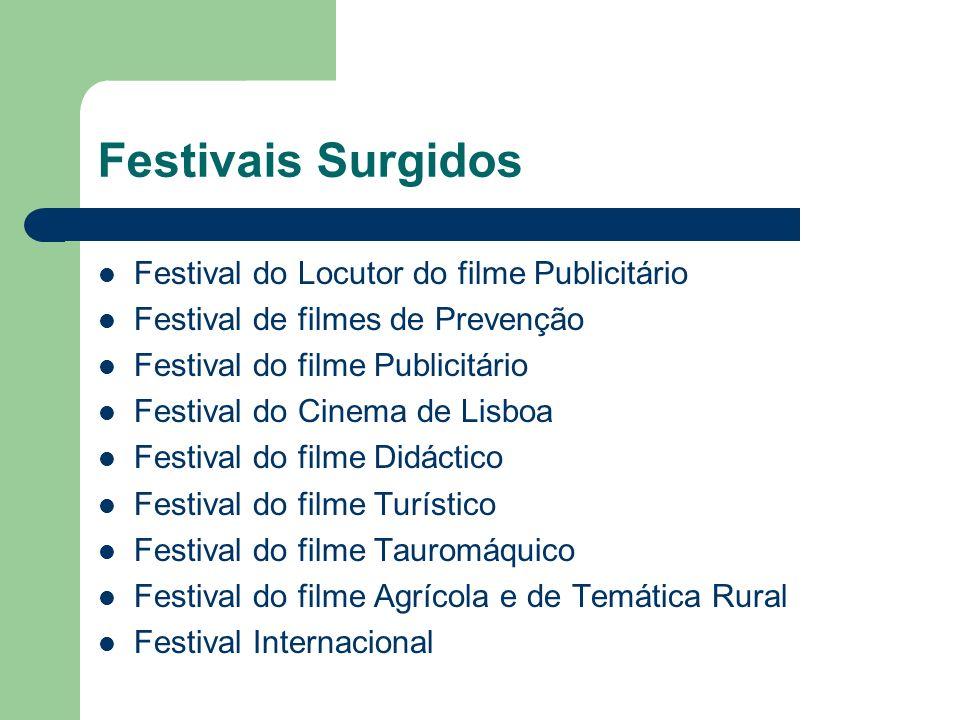 Festivais Surgidos Festival do Locutor do filme Publicitário Festival de filmes de Prevenção Festival do filme Publicitário Festival do Cinema de Lisb