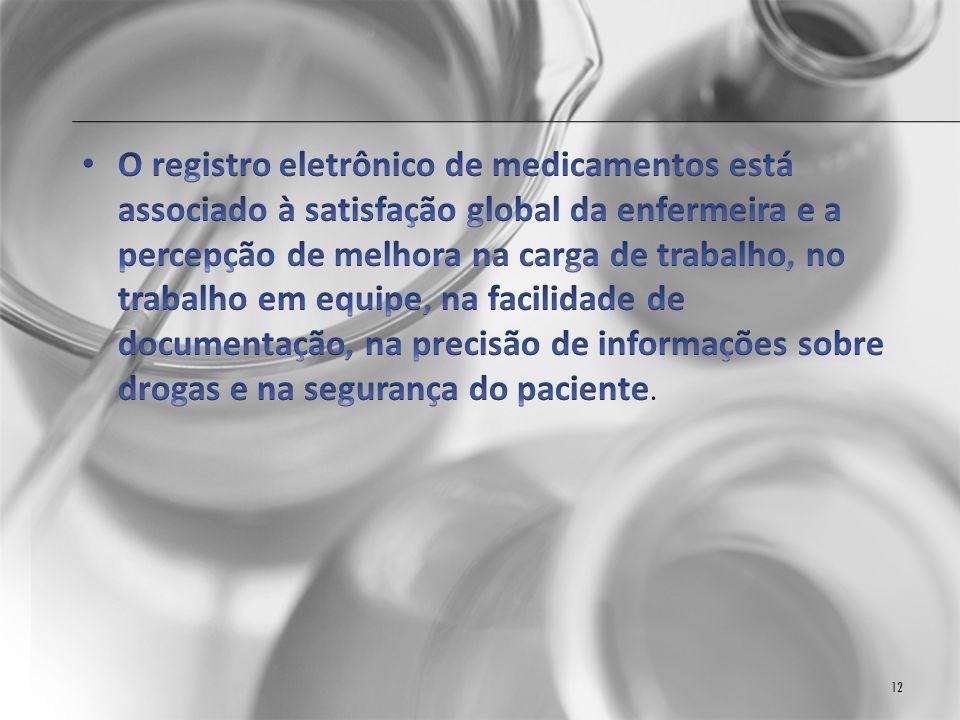 CONCLUSÃO A maioria dos pesquisadores de saúde têm se interessado na relação direta entre os fatores de condição de trabalho e erros de medicação.