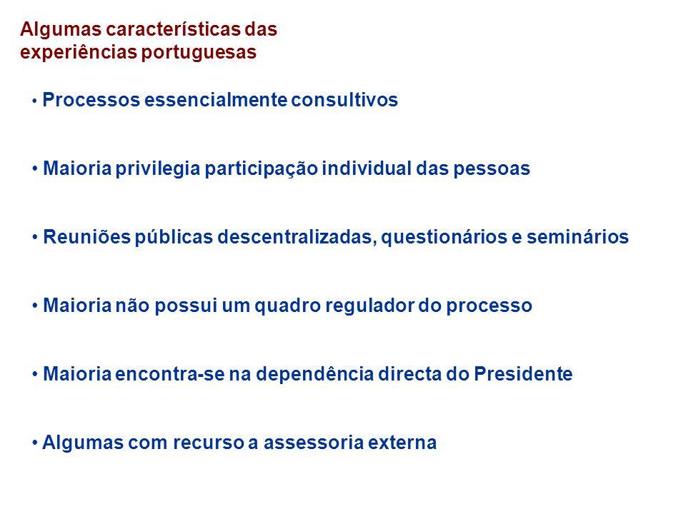 Algumas características das experiências portuguesas Processos essencialmente consultivos Maioria privilegia participação individual das pessoas Reuni