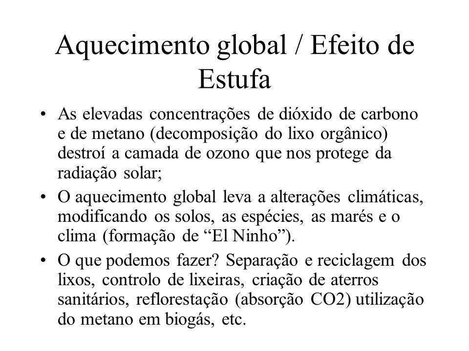 Aquecimento global / Efeito de Estufa As elevadas concentrações de dióxido de carbono e de metano (decomposição do lixo orgânico) destroí a camada de