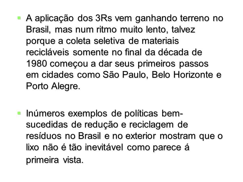 A aplicação dos 3Rs vem ganhando terreno no Brasil, mas num ritmo muito lento, talvez porque a coleta seletiva de materiais recicláveis somente no fin