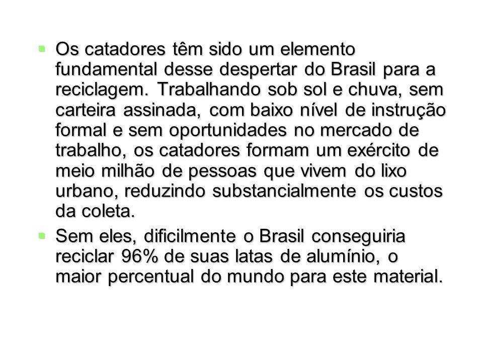 Os catadores têm sido um elemento fundamental desse despertar do Brasil para a reciclagem. Trabalhando sob sol e chuva, sem carteira assinada, com bai