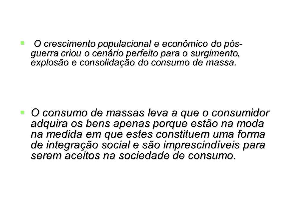 O crescimento populacional e econômico do pós- guerra criou o cenário perfeito para o surgimento, explosão e consolidação do consumo de massa. O cresc