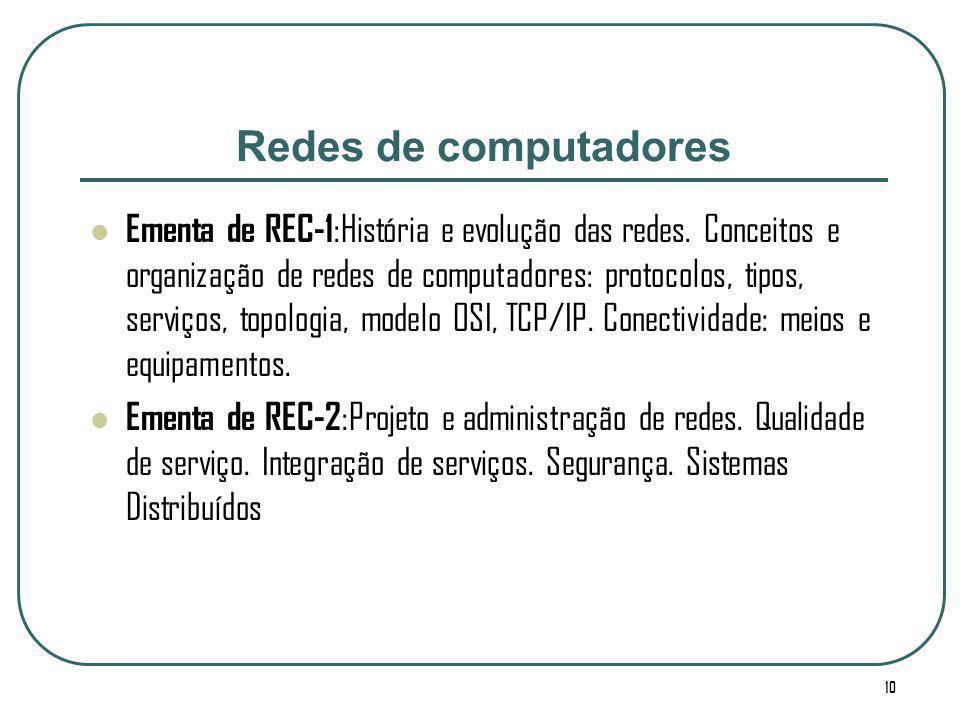 10 Redes de computadores Ementa de REC-1 :História e evolução das redes. Conceitos e organização de redes de computadores: protocolos, tipos, serviços