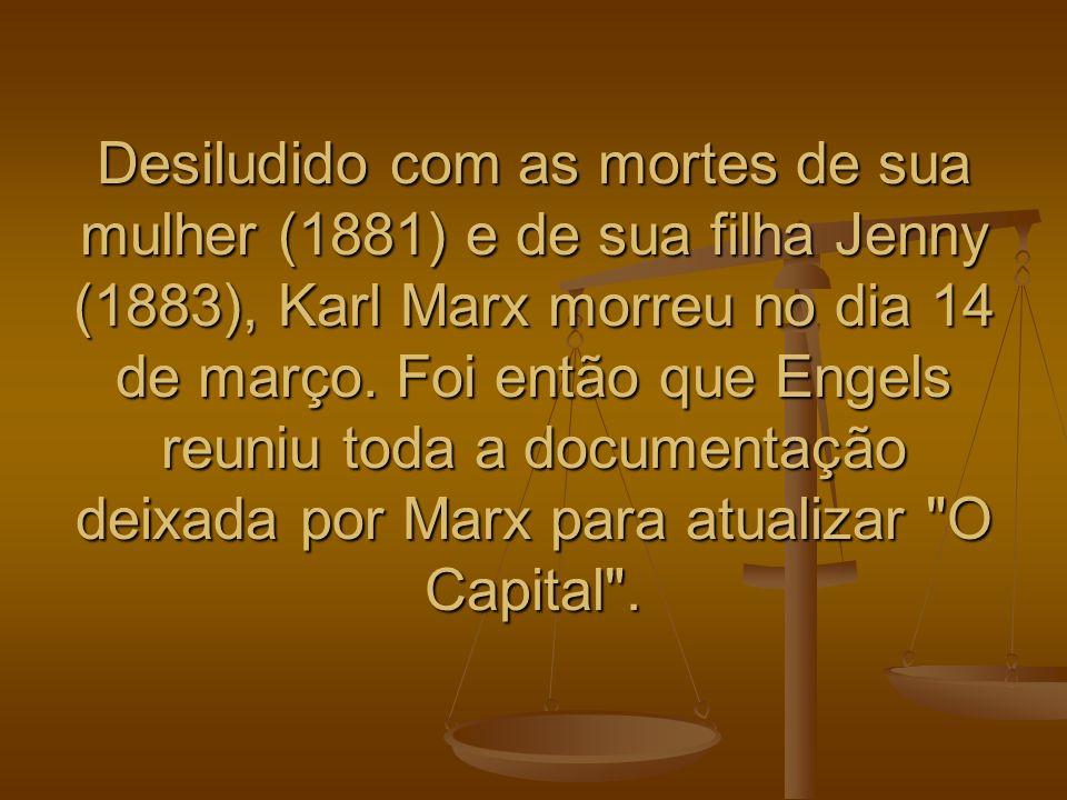 Desiludido com as mortes de sua mulher (1881) e de sua filha Jenny (1883), Karl Marx morreu no dia 14 de março. Foi então que Engels reuniu toda a doc