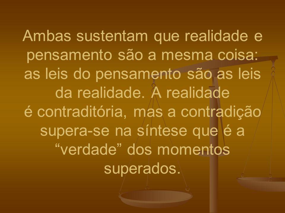 Ambas sustentam que realidade e pensamento são a mesma coisa: as leis do pensamento são as leis da realidade. A realidade é contraditória, mas a contr