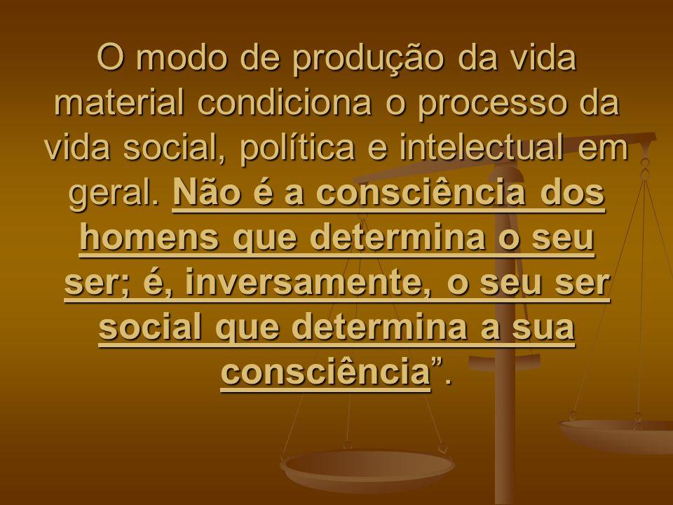 O modo de produção da vida material condiciona o processo da vida social, política e intelectual em geral. Não é a consciência dos homens que determin