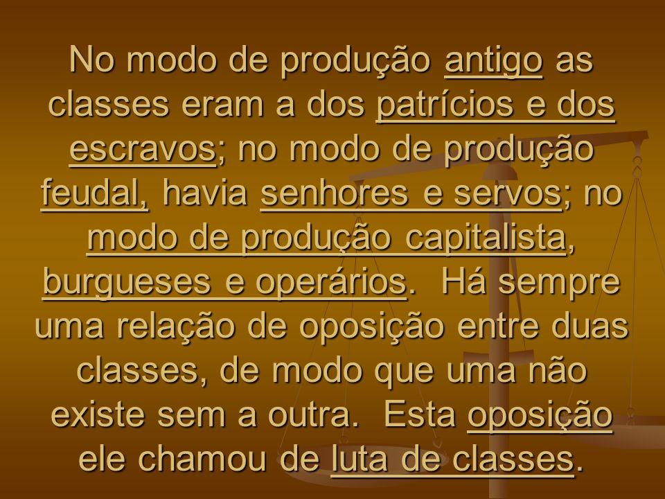No modo de produção antigo as classes eram a dos patrícios e dos escravos; no modo de produção feudal, havia senhores e servos; no modo de produção ca