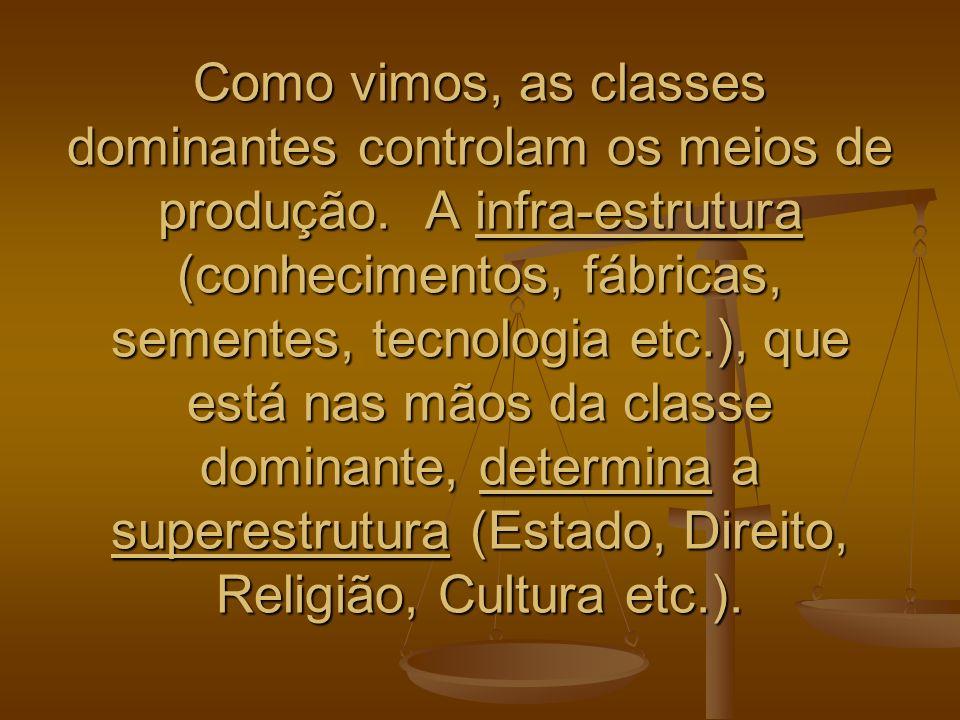 Como vimos, as classes dominantes controlam os meios de produção. A infra-estrutura (conhecimentos, fábricas, sementes, tecnologia etc.), que está nas